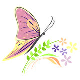 Vector illustration of insect, colorful butterfly, flowers and branches with leaves, isolated on the white background Stock Photo