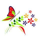 Vector illustration of insect, red butterfly, flowers and branches with leaves, isolated on the white background Royalty Free Stock Image
