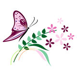 Vector illustration of insect, violet butterfly, flowers and branches with leaves, isolated on the white background Stock Photography