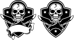 Vector illustration of a insignia with skull Stock Photos