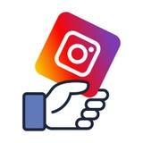 Instagram logo on facebook like hand vector illustration