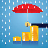 Insurance Protection Concept. Businessman and Umbrella. Vector Royalty Free Stock Image