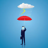 Insurance Protection Concept. Businessman and Umbrella. Vector. Vector illustration. Insurance protection concept. Businessman and umbrella, risk threat Stock Images