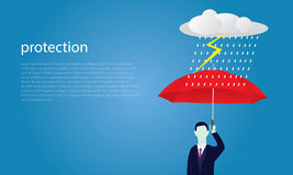 Insurance Protection Concept. Businessman and Umbrella. Vector Stock Images