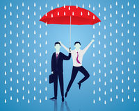 Insurance Protection Concept. Businessman and Umbrella. Vector Royalty Free Stock Photo
