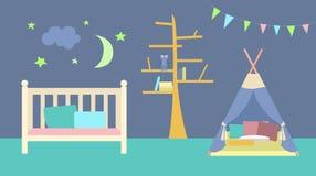 Vector illustration. Interior of the children`s room. royalty free illustration