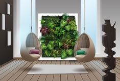 Eco-minimalist style interior. Vector illustration of interior with vertical garden and wicker hanging chairs Stock Image