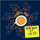 Vector illustration of International Coffee Day. Suitable for greeting card, poster and banner. Flat realism. Vector illustration of International Coffee Day royalty free illustration