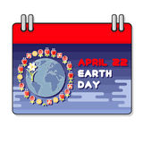 Vector illustration of International Earth day. Planet and flower Stock Image