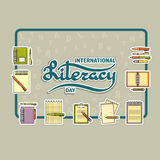Vector illustration of International Literacy Day card. Stock Photos