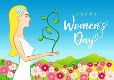 8 March Happy Womens Day beautiful woman greeting card. Vector illustration for the International Women`s Day with lettering and beautiful women on spring stock illustration