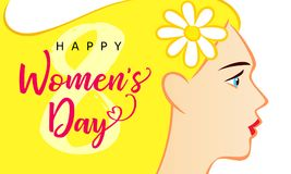 8 March, Happy Womens Day beautiful woman greeting card. Vector illustration for the International Women`s Day with text and beautiful woman with yellow hair on stock illustration