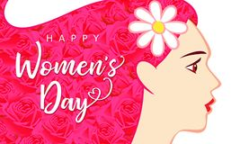 Happy Womens Day March 8, beautiful woman with pink hair greeting card. Vector illustration for the International Women`s Day with text on hair with rose flowers stock illustration