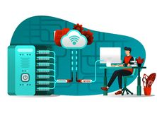 Vector illustration of internet technology 4.0, file sharing, storage security, server, data processing. people uploading big data. File to central server royalty free illustration