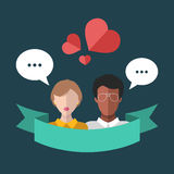 Vector illustration of interracial couple with speech bubbles and hearts in flat style. Illustration of online dating. Royalty Free Stock Images