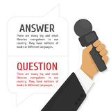 Vector illustration of interview. The hand of the journalist holds a microphone against dialog boxes with the text Stock Photo