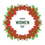 Vector illustration invitation card happy women day for crowd of leaf flower frames vector illustration