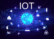 Vector illustration IOT. Global world telecommunication network connected around planet Earth, internet of things IOT, devices and connectivity concepts on a royalty free illustration