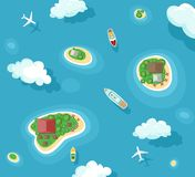 Vector illustration of islands top view with boats and plans. Ocean summer vacation. Travel concept with yacht, airplane vector illustration