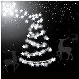 White reflecting christmas tree and reindeer. Vector illustration isolated black background with stars,reindeers and tree. Holiday art vector illustration