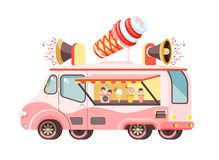 Vector illustration isolated car with refrigeration unit, truck for sale and manufacture ice cream, vanilla, chocolate. Stock vector illustration isolated car Stock Photo