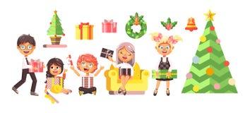 Vector illustration isolated cartoon characters children, boys, girls, Christmas tree, happy New Year and Merry. Stock vector illustration isolated cartoon Royalty Free Stock Photos