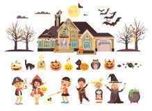 Vector illustration isolated children Trick-or-Treat boy, girl, costumes fancy dresses holiday party Happy Halloween Royalty Free Stock Images