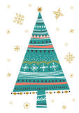 Vector illustration with isolated christmas fir tree poster. Royalty Free Stock Images