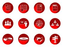 Vector set business or finance  icons with long shadow. Vector Illustration isolated for graphic and web design Royalty Free Stock Image