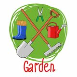 Vector illustration isolated on green background, agriculture and horticulture. It can be used as an icon. Vector image of garden tools Stock Images