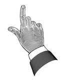 Hand with pointing finger in engraving style Royalty Free Stock Image
