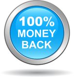 Money back button web icon blue. Vector illustration isolated - money back button web icon blue Stock Image