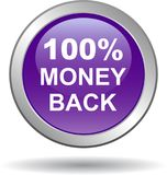 Money back button web icon violet. Vector illustration isolated - money back button web icon violet Royalty Free Stock Photography