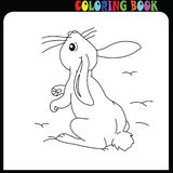 Bunny, rabbit looking up. Easter coloring book for children vector illustration