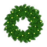 Vector illustration of isolated realistic christmas fir-tree wreath with shiny bulb garland Stock Photography