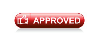 Approved thumbs up icon. Vector illustration on isolated white background - approved thumbs up button stock illustration
