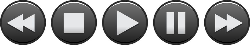 Audio video player buttons black. Vector illustration on isolated white background - audio video player buttons black Stock Photo