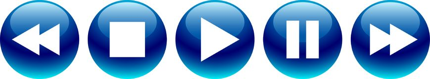 Audio video player buttons blue. Vector illustration on isolated white background - audio video player buttons blue Royalty Free Stock Images
