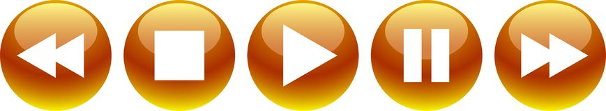 Audio video player buttons golden yellow. Vector illustration on isolated white background - audio video player buttons golden yellow Stock Photography