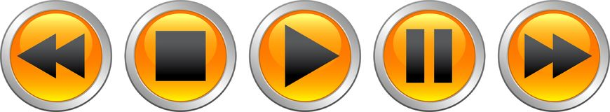 Audio video player buttons orange. Vector illustration on isolated white background - audio video player buttons orange Stock Image