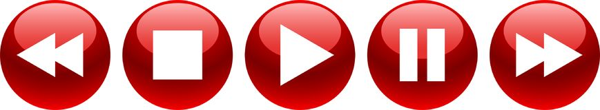 Audio video player buttons red. Vector illustration on isolated white background - audio video player buttons red Royalty Free Stock Images
