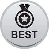 Best seller. Vector illustration isolated on white background - Best seller selling product medal stared Royalty Free Stock Photography
