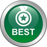 Best seller button. Vector illustration isolated on white background - Best seller selling product medal stared Stock Photos