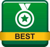 Best web button. Vector illustration isolated on white background - Best seller selling product medal stared Royalty Free Stock Image