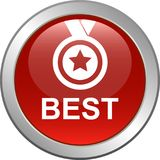 Best web button. Vector illustration isolated on white background - Best seller selling product medal stared Royalty Free Stock Photography