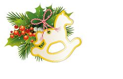 Christmas card with fir branches, Ilex, mistletoe berries and Rocking Horse Christmas tree card, Gift tag and bow,. Vector illustration isolated on white Stock Image