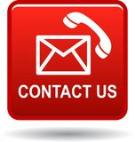 Contact us mail call icons red Royalty Free Stock Photo