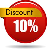 10 Discount web icon. Vector illustration isolated on white background - 10 Discount web button icon Stock Photography
