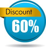 60 Discount web icon. Vector illustration isolated on white background - 60 Discount web button icon Royalty Free Stock Images