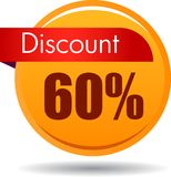 60 Discount web icon. Vector illustration isolated on white background - 60 Discount web button icon Stock Photos